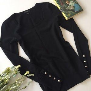 .Ann Taylor. Black lightweight Merino wool sweater